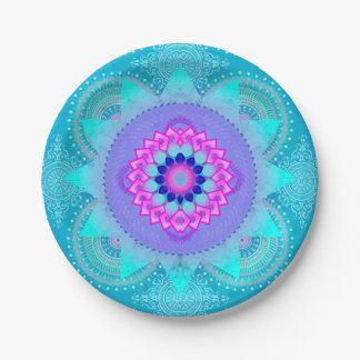 Lotus Bloom Turquoise Mandala ID129 7 Inch Paper Plate