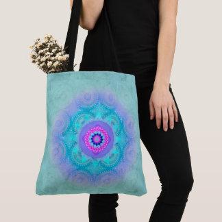 Lotus Bloom Turquoise Mandala ID129 Tote Bag
