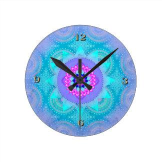 Lotus Bloom Turquoise Mandala ID129 Wall Clocks