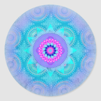 Lotus Bloom Turquoise Mandala Round Sticker