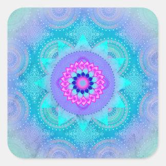 Lotus Bloom Turquoise Mandala Square Sticker