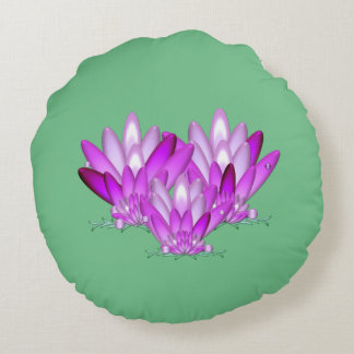 Lotus blossom pink on sea green background round cushion