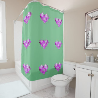 Lotus blossom pink on sea green background shower curtain
