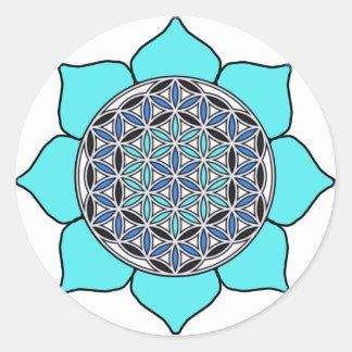 Lotus Blue2 Classic Round Sticker