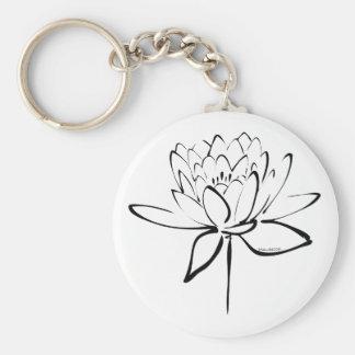 Lotus Calligraphy (Black) Key Ring