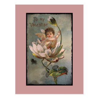 Lotus Cupid Retro Valentine Postcard