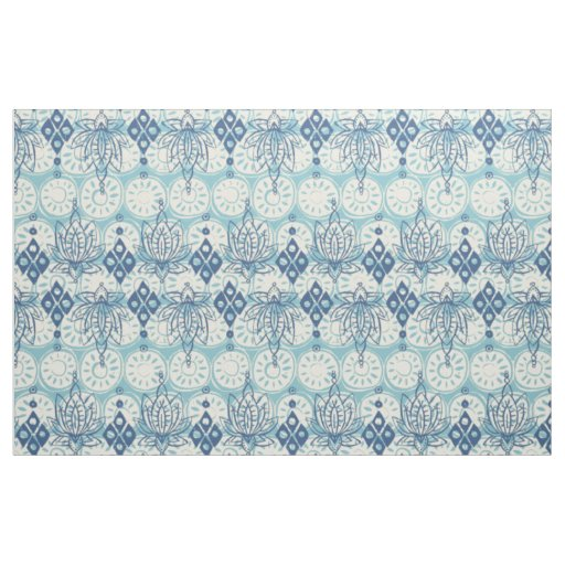 lotus diamond blue fabric