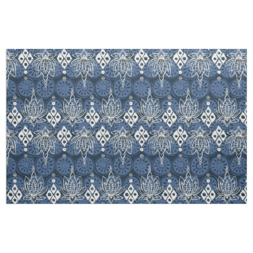 lotus diamond indigo fabric