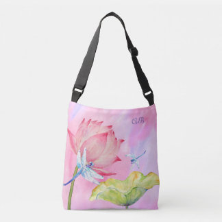 lotus dragonflies spring summer customizable crossbody bag