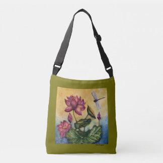 Lotus Dragonfly Watercolor Crossbody Bag