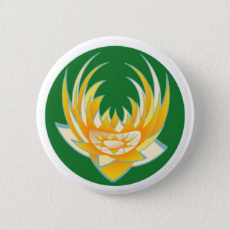 LOTUS Flame in Green Base 6 Cm Round Badge