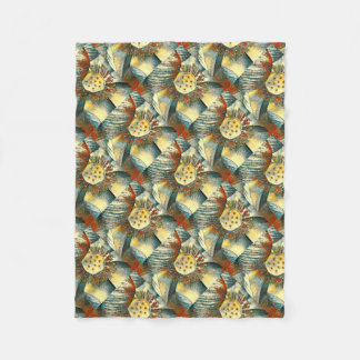 Lotus Flower Art Illustration Fleece Blanket