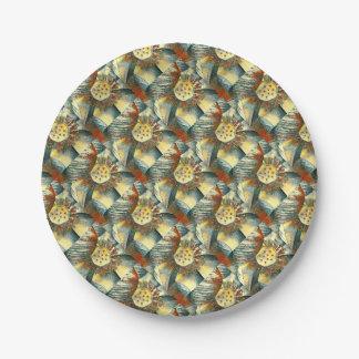 Lotus Flower Art Illustration Paper Plate