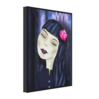 Lotus Flower Asian Girl Hand drawn art Stretched Canvas Print