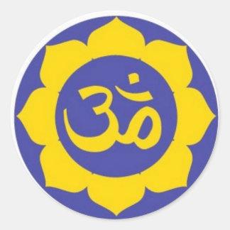 lotus flower - aum meditation round sticker