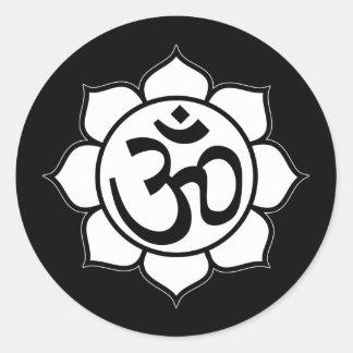 Lotus Flower Aum Symbol Round Sticker