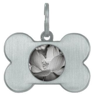 Lotus flower black and white pet tag