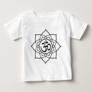 Lotus Flower, Black with White Background Baby T-Shirt