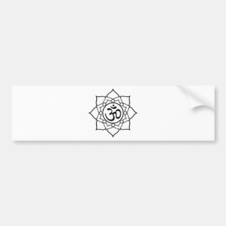 Lotus Flower, Black with White Background Bumper Sticker