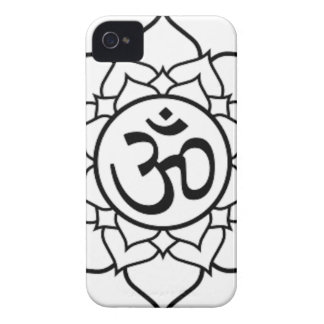 Lotus Flower, Black with White Background Case-Mate iPhone 4 Case