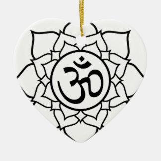 Lotus Flower, Black with White Background Ceramic Heart Decoration