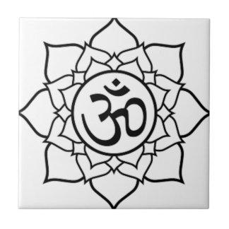 Lotus Flower, Black with White Background Ceramic Tile