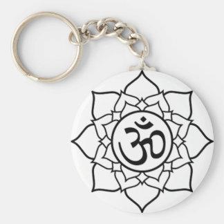 Lotus Flower, Black with White Background Key Ring