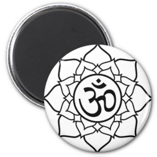 Lotus Flower, Black with White Background Magnet