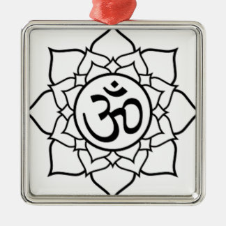 Lotus Flower, Black with White Background Metal Ornament