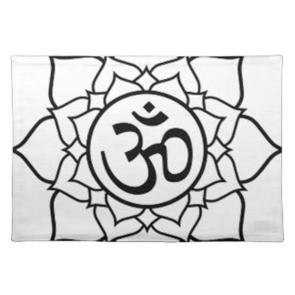 Lotus Flower, Black with White Background Placemat