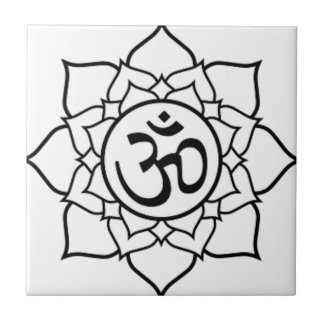 Lotus Flower, Black with White Background Small Square Tile