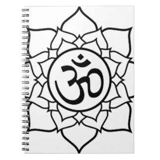 Lotus Flower, Black with White Background Spiral Notebook