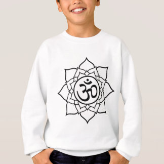 Lotus Flower, Black with White Background Sweatshirt