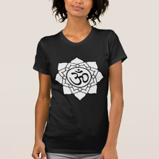 Lotus Flower, Black with White Background T-Shirt