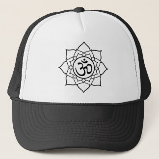 Lotus Flower, Black with White Background Trucker Hat