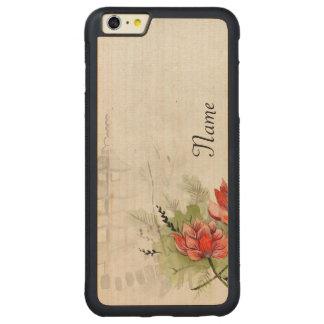 Lotus Flower Carved Maple iPhone 6 Plus Bumper Case