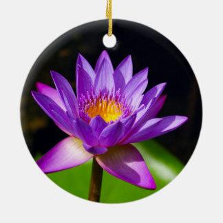 Lotus Flower Round Ceramic Ornament