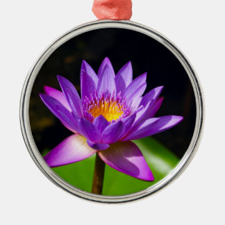 Lotus Flower Silver-Colored Round Ornament