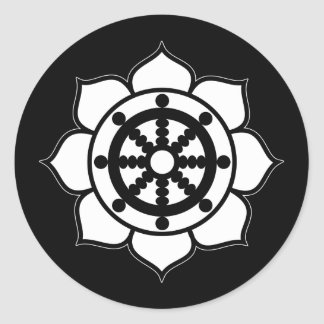 Lotus Flower Dharma Wheel Classic Round Sticker