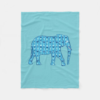 Lotus flower elephant, turquoise and aqua fleece blanket