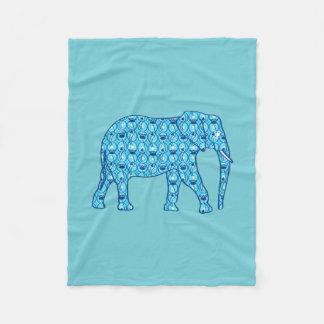 Lotus flower elephant, turquoise and aqua fleece blanket