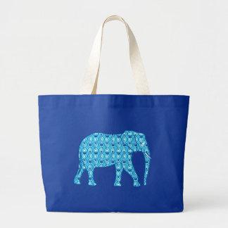 Lotus flower elephant - turquoise canvas bag