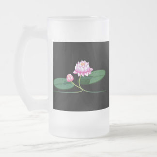 Lotus flower frosted glass beer mug
