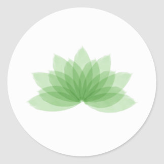 Lotus flower in green color classic round sticker