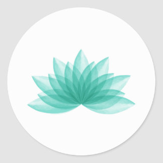 Lotus flower in teal color classic round sticker