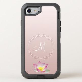 Lotus Flower Laurel Wreath Monogram OtterBox Defender iPhone 8/7 Case