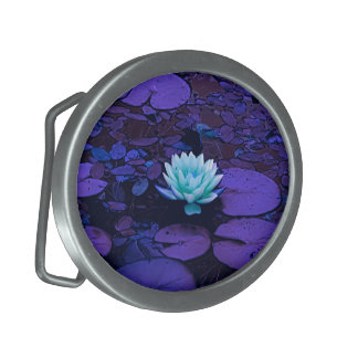Lotus Flower Magical Purple Blue Turquoise Floral Oval Belt Buckles