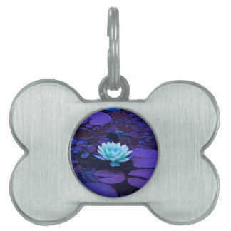 Lotus Flower Magical Purple Blue Turquoise Floral Pet Tag