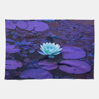 Lotus Flower Magical Purple Blue Turquoise Floral Tea Towel