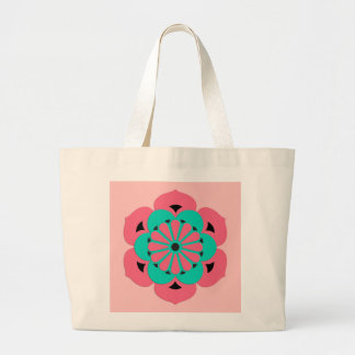 Lotus Flower Mandala, Coral Pink and Turquoise Large Tote Bag